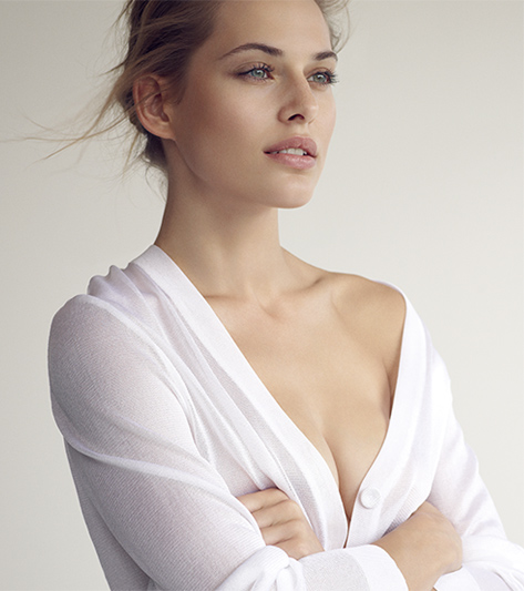 woman with chest highlighted