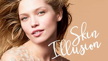 White model wearing Skin Illusion foundation