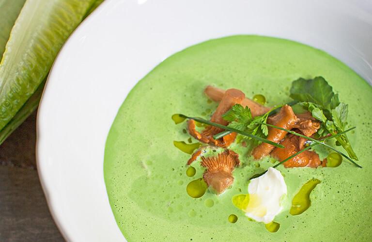 生菜汤&腌鸡油菌
