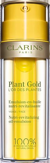 植物金萃系列滋养焕活精华乳,以精油与乳液质地为背景