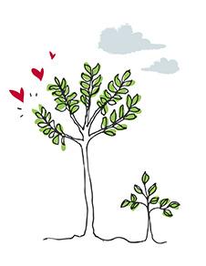 带有心形装饰的树木插图