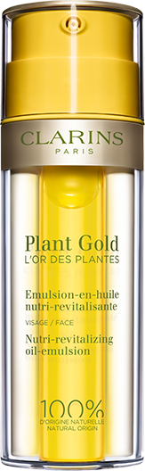 Plant Gold Nutri-Revitalizing Oil-Emulsion in front of oil and lotion textures