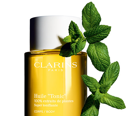 Tonic Body Treatment Oil with field mint leaves
