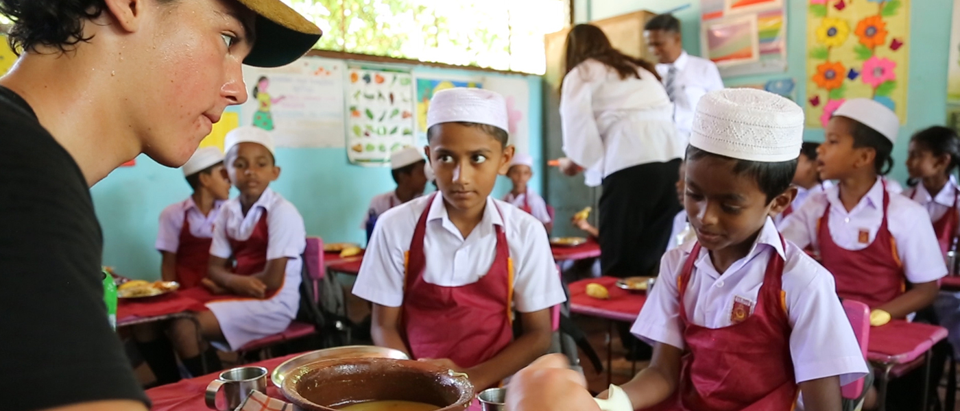 Paris Brosnan offering meals to school children in Sri Lanka