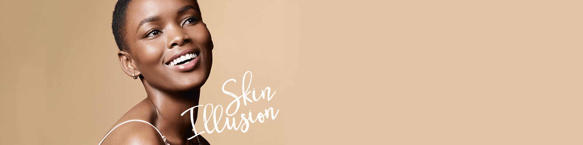Black model wearing Skin Illusion foundation