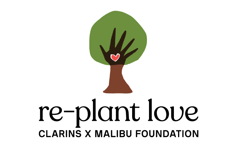 Replant love Clarins x Malibu Foundation logo
