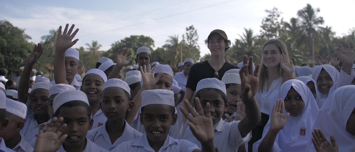 Paris Brosnan and Lauren Bush Lauren in Sri Lanka with school children